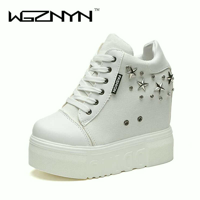 WGZNYN Hidden Wedge Heels Fashion sneakers Women Elevator Shoes woman Breathable Lace UP Height Increasing Shoes Rivets Boots W4