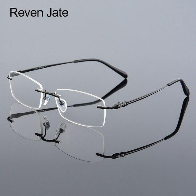 4c90f98e84 Reven Jate 633 Rimless Men Eyeglasses Frame Optical Prescription Glasses  for Man Eyewear Fashion Rimless Spectacles