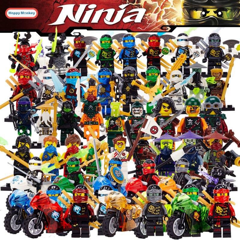 LEGO 6 BLACK NINJA MINIFIGURES NINJAGO FIGURE PEOPLE SILVER WRAP