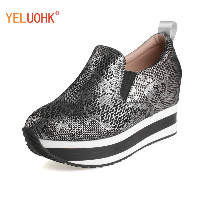 Snake Style Platform Shoes Women Heels Genuine Leather Shoes Heel Women High Quality High Heels Wedge Pumps nayiduyun women genuine leather wedge high heel pumps platform creepers round toe slip on casual shoes boots wedge sneakers