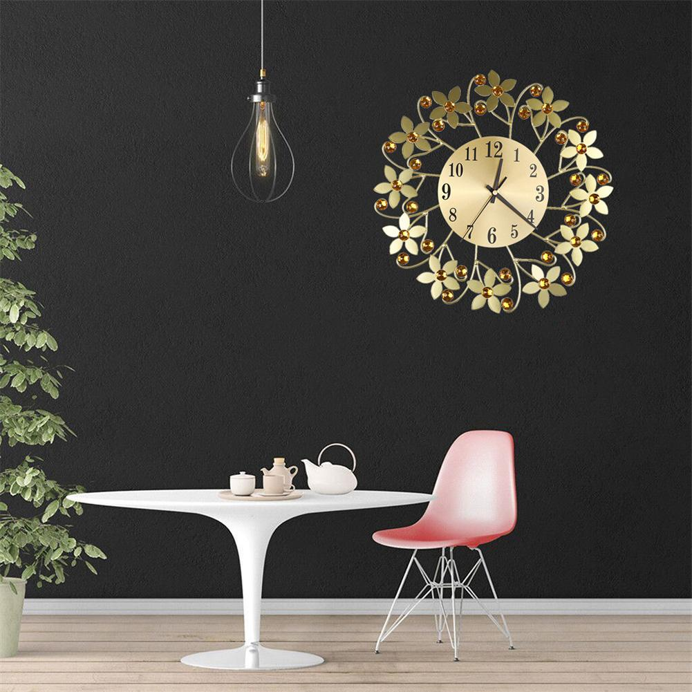 Round Rhinestone Flower Wall Clock Living Room Home Restaurant Hanging Decor hot sale