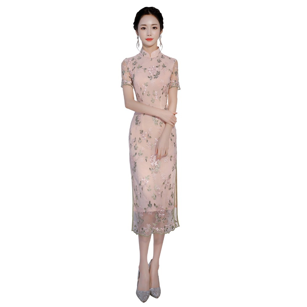 Shanghai Story 2019 New Arrival Lace Qipao <font><b>Dress</b></font> Girl's <font><b>Chinese</b></font> cheongsam <font><b>dress</b></font> <font><b>Sexy</b></font> Party <font><b>dress</b></font> Long <font><b>Dress</b></font> For Women image