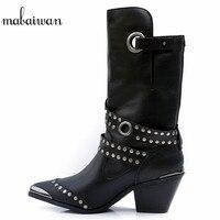 Mabaiwan/модные черные зимние сапоги из натуральной кожи, женские сапоги до середины икры на высоком каблуке с заклепками, зимняя обувь, женские