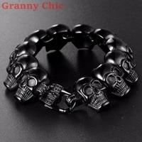 Granny Chic Hot Selling NEW Fashion Mens Black jewelry Titanium Stainless steel Classic Biker Men's Skull heavy Bracelet Bangles