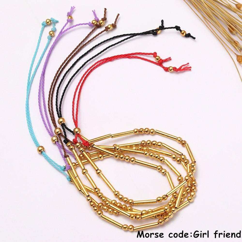 Wrap Bracelets Dawapara Handmade Morse Code Bracelet Custom Multi-color Personalized Hidden Message Grandma Diy Bracelet For Woman Gift