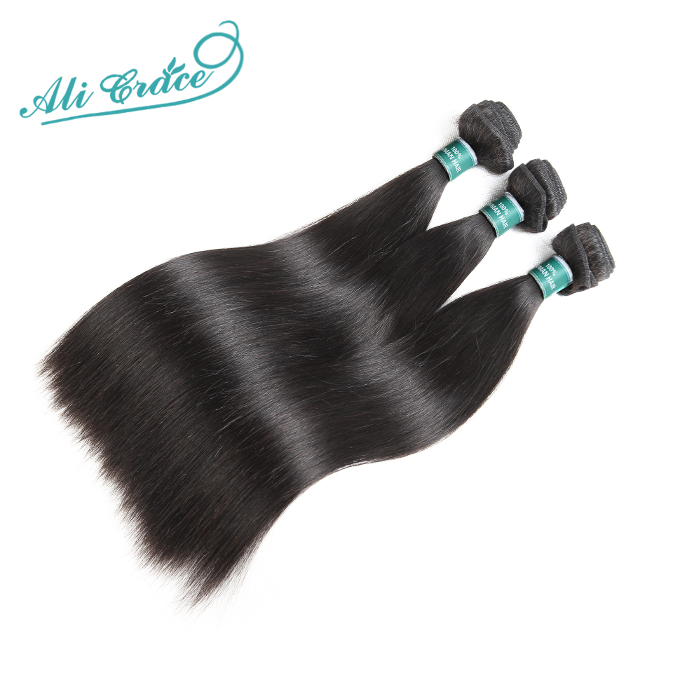 Hair-Bundles Extention Remy-Hair Ali-Grace Human Indian 3pcs Straight 10-28inch Natural-Color