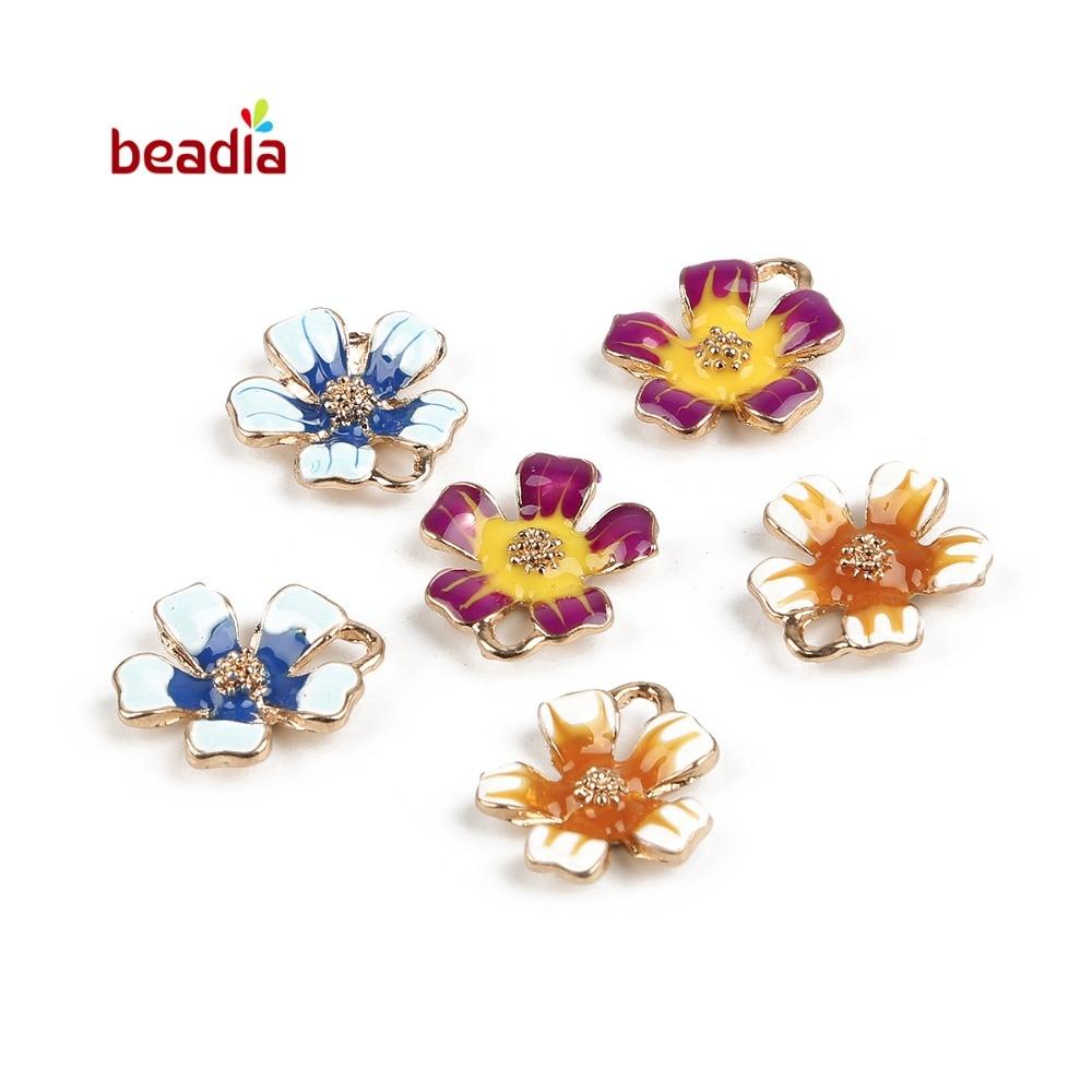 16pcs//Lot Assorted Enamel Colorful Alloy Shells Conch Shaped Pendants Charms