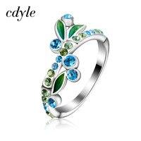 Cdyle ירוק נשים אלגנטי קלאסי במבוק טבעת אמייל טבעת יום נישואים אירוסין תכשיטי כסף סטרלינג S925 Bijous