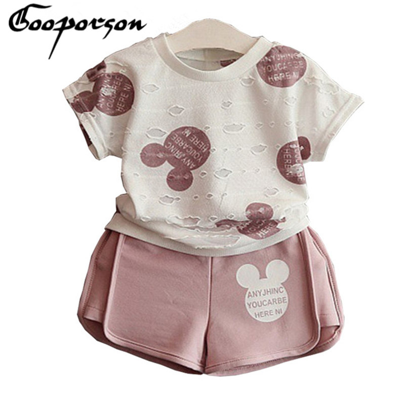 2017 New Brand Girls Mickey Sport Suit Cartoon Clothing Set Ripped White Shirt With Shorts For Kids And Children Clothing