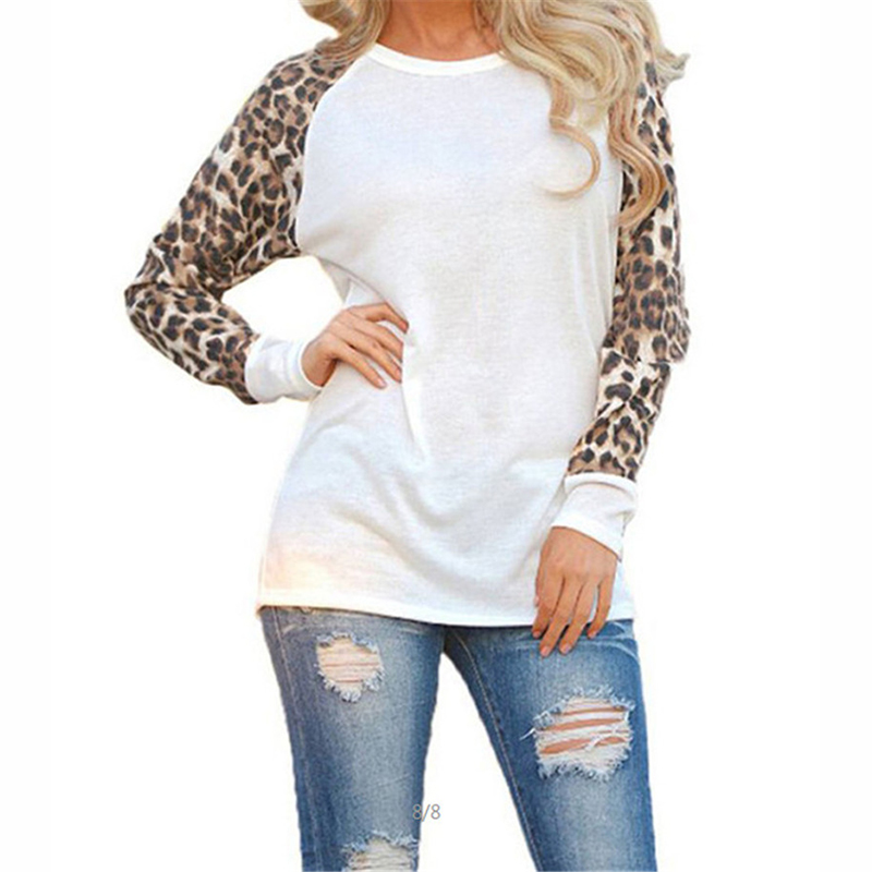 Women Tops And Blouses New Cotton Patchwork 2019 Sleeve Shirt Leopard Fashion Casual O-Neck Plus Size Blouse 5XL Blusa Feminina