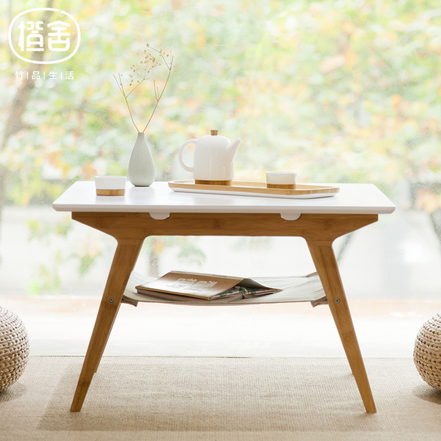 ZENS BAMBOO Coffee Table Bamboo Tea Double Layer Living Room Square Home