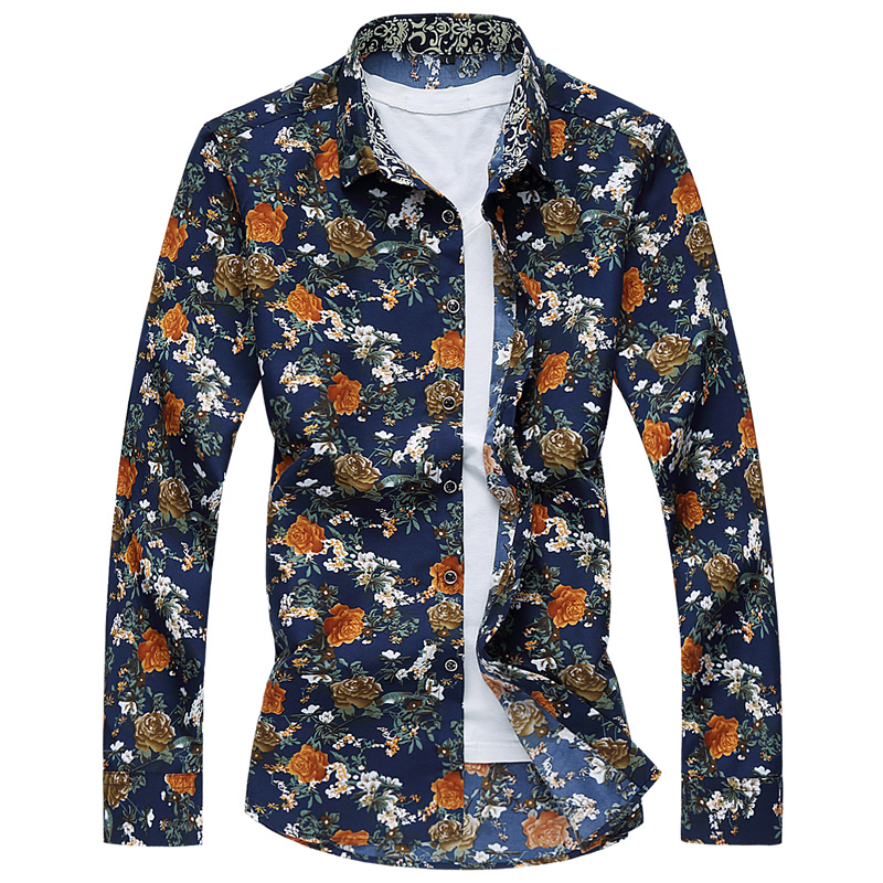 New 2017 Casual Mens shirts men Long sleeve slim fit Print chemise homme Asian size :M~6XL Turn-down Collar camisas