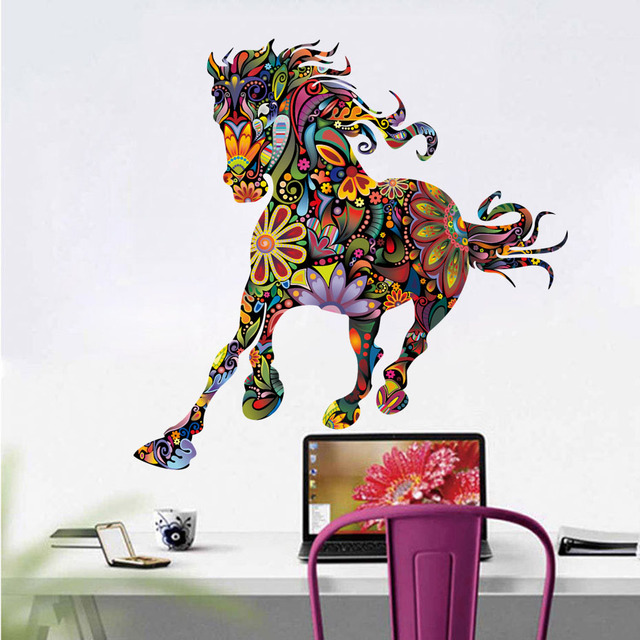 abstract design horse wall decal colorful flower pattern animal
