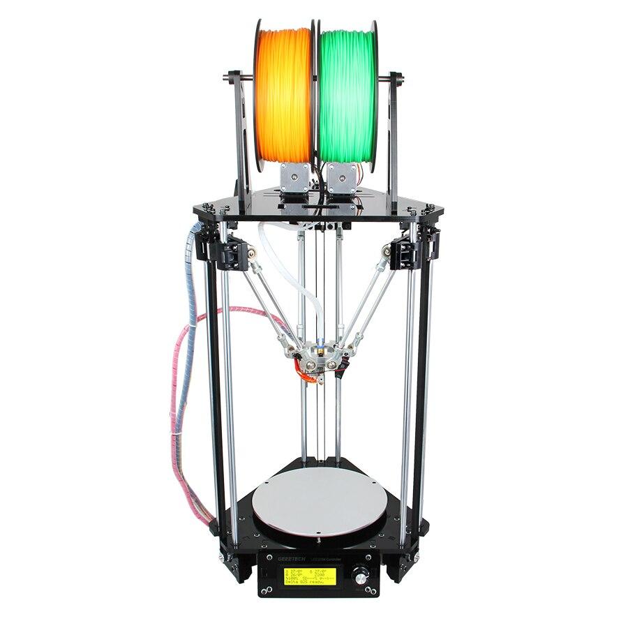 Geeetech 3D Stampante Doppie Teste di Rostock Mini G2S Delta Auto Livellamento Kit Aggiornato In Metallo Ad Alta Risoluzione Impressora