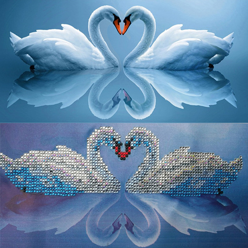 Needle Arts & Crafts Diamond Painting Cross Stitch 5d Diamond Embroidery Round Diy Crystal Painting Diamond Mosaic Home Decor Paint Round Rhinestones Craft Animal White Swan