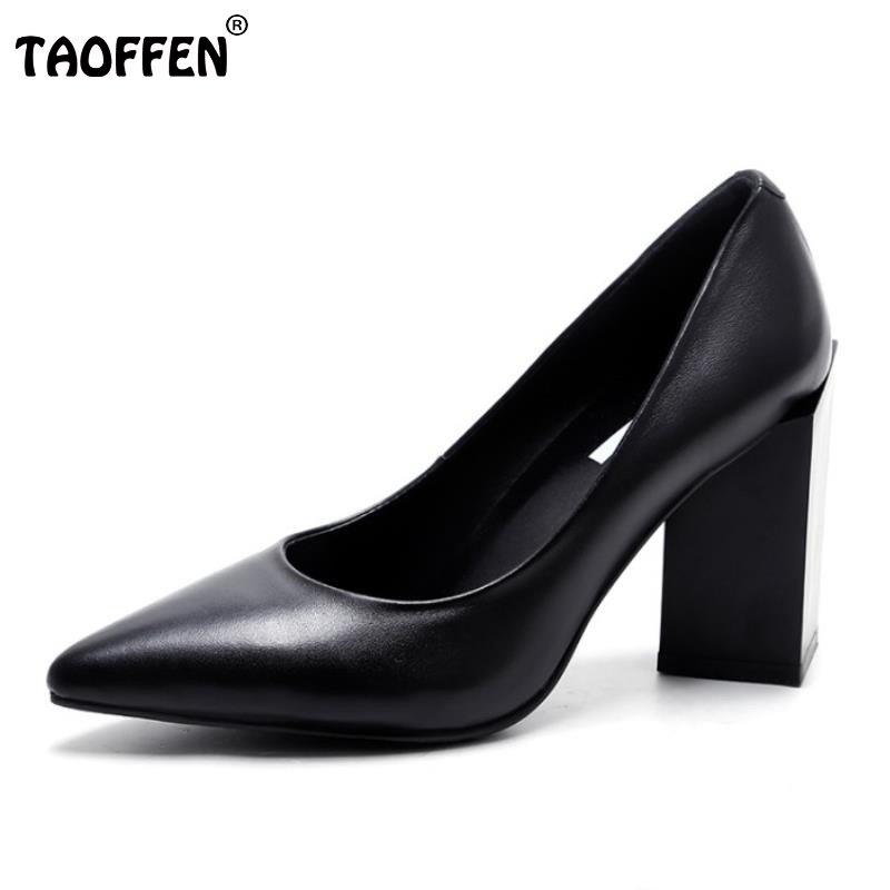 ФОТО Women High Heels Real Leather Shoes Women Thick Heels Pumps Brand Pointed Toe Office Lady Shoes  Comfortable Footwear Size 34-39