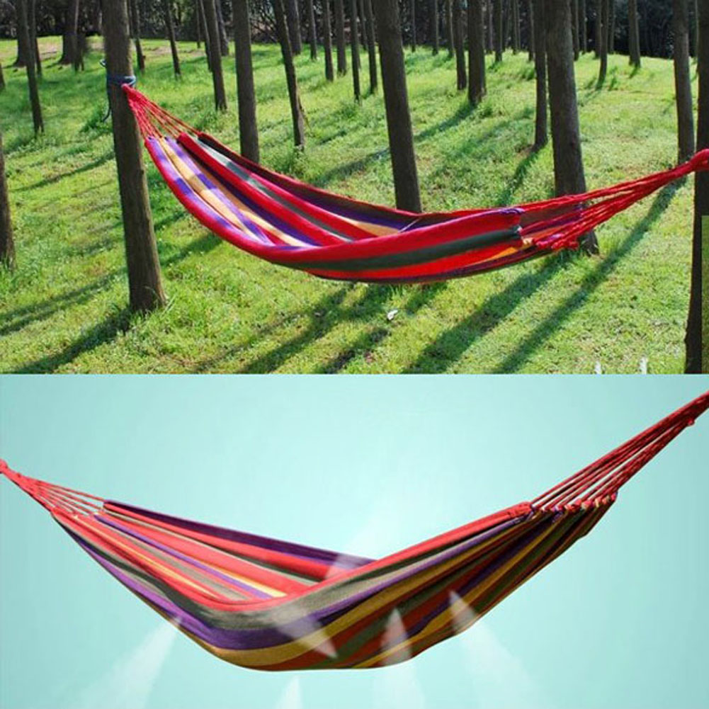 Outdoor hammock bed - Outdoor Portable Hang Bed Canvas Stripe Travel Camping Hammock Strong Hammock With Stand Weight Of 150kgs