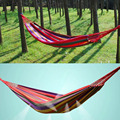 Outdoor Portable Hang Bed Canvas Stripe Travel Camping Hammock Strong hammock with stand weight of 150kgs