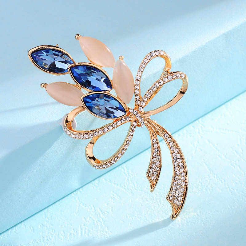 3 warna yang tersedia Klasik Indah Opal Perempuan Emas Terang bersinar kristal Busur bros Pin untuk wanita pernikahan karangan bunga besar