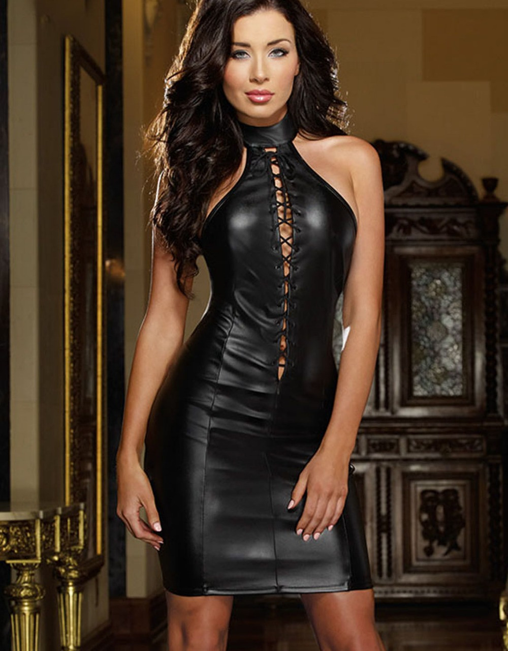 221ee67881fcd Leather Dress Wholesale Price Hot Sale Fashion Black Women Club Dress High  Quality Vinyl Mini Sexy Halter Dresses 6301