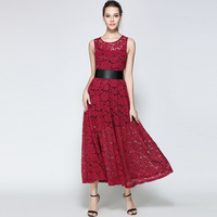 High Quality Women Dress Summer Vintage Red Wedding Runway Women Clothing Bohemia Beach Casual Evening Party