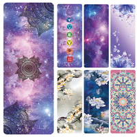 Non slip Yoga Mat Comfort Suede Pretty Starry Sky Printed Folding Natural Rubber Pad for Exercise, Yoga, and Pilates Female