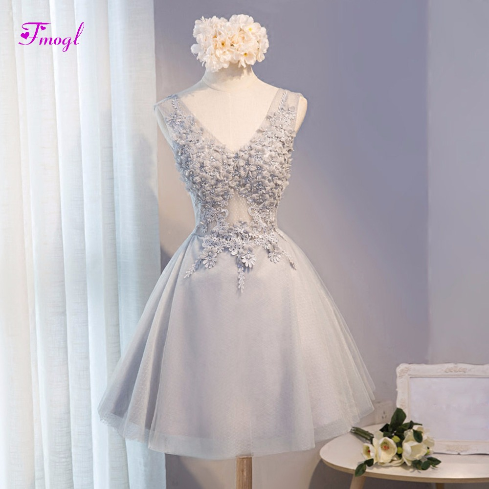 Fmogl New Fashion V-neck Appliques Tank Beaded Lace Cocktail Dresses 2019 Elegant Sleeveless Short Graduation Dress Plus Size