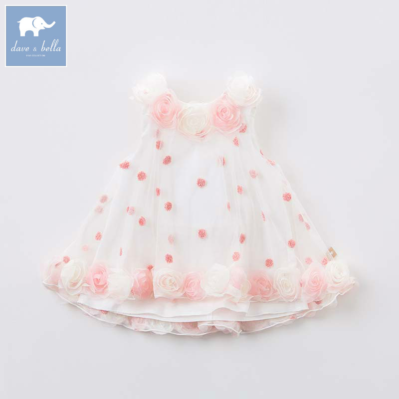 DB7574 dave bella summer girls cute dress children princess wedding party birthday chiffon clothes baby flower dresses brwcf flower girls dress for party wedding birthday 2017 summer princess dresses leopard printing children clothes 2 8years