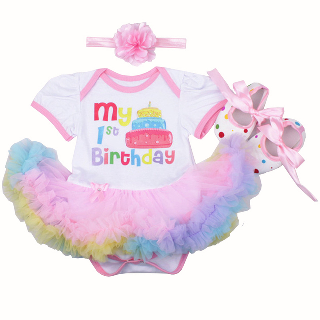 New Christmas Infant Girl Rompers Dress Baby Girls Clothes Sets 3pcs Newborn Cotton Jumpsuit Clothes My first Birthday Costumes