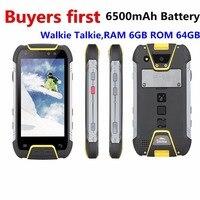 Snopow M10W IP68 водонепроницаемый ударопрочный смартфон Оперативная память 6 ГБ Оперативная память 6 4G B 6500 мАч PTT NFC OTG Android 7,0 MTK6757 13.0mp 4G мобильный те