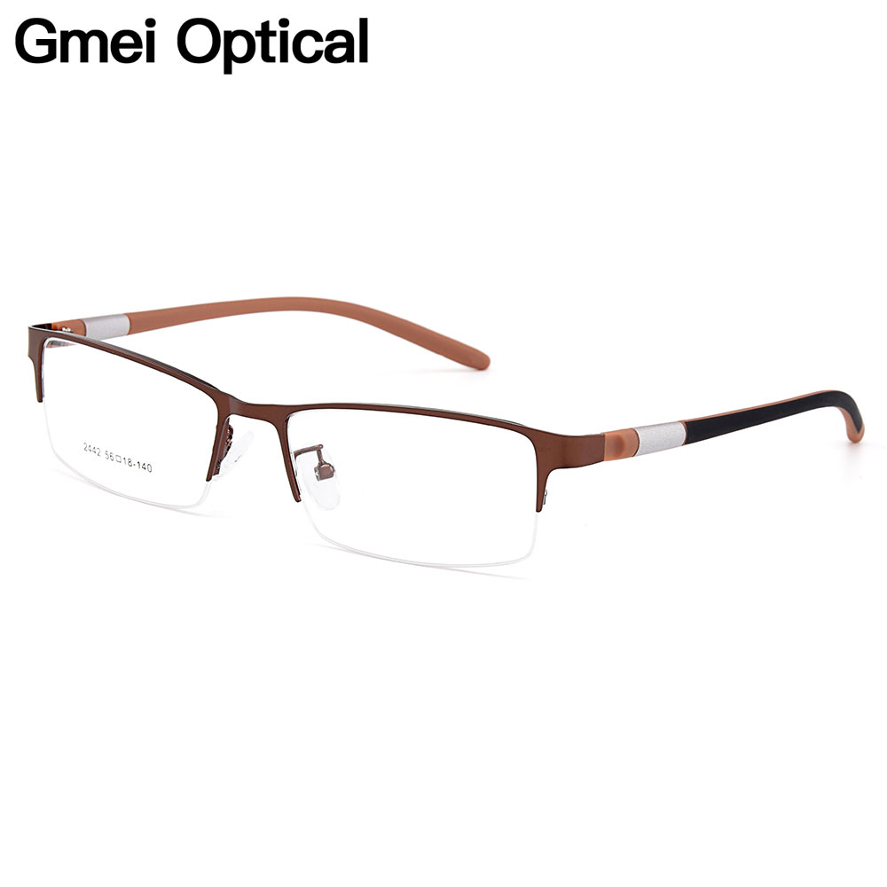 Gmei Optical Men Titanium Alloy Eyeglasses Frame for Men Eyewear Flexible Temples Legs IP Electroplating Alloy Spectacles Y2442