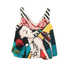 NiceMix 2019 Summer Sexy V-Neck Plant Printed Women BlouseNew Fashion Sleeveless Short Shirts Casual Female Blusas Tank Top