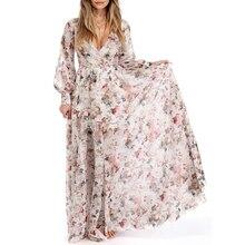 Плюс Размеры длинное Для женщин сезон: весна–лето Бохо пляжное платье свободные женские Цветочный принт шифон с длинным рукавом Повседневное вечерние платья