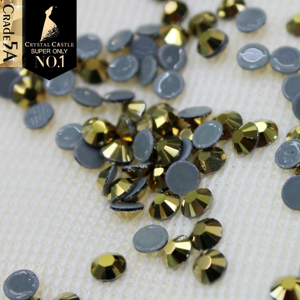 Crystal Castle aurum dorado no dmc flatback crystal hotfix strass golden Wedding Stone hot fix rhinestones for bridal shoes
