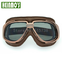 Helmet Goggles With Black Lens Motorcycle Goggle Vintage Pilot Biker Leather For Motorcycle Bike ATV Goggle