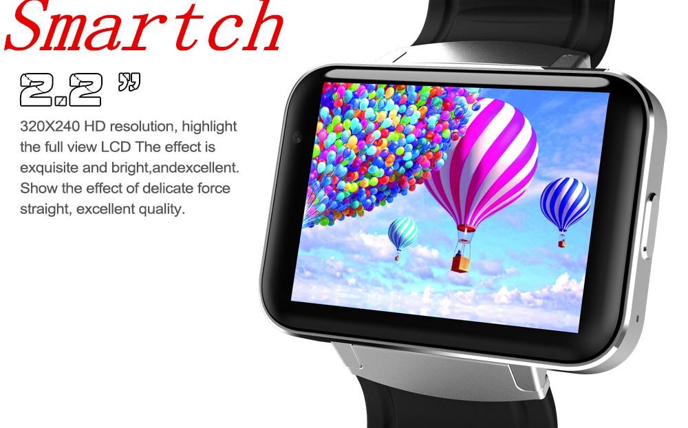 Smartch DM98 montre Smart watch MTK6572 1.2 ghz 2.2 pouce IPS HD 900 mah Batterie 512 mb Ram 4 gb Rom android 3g WCDMA GPS WIFI smartwatch