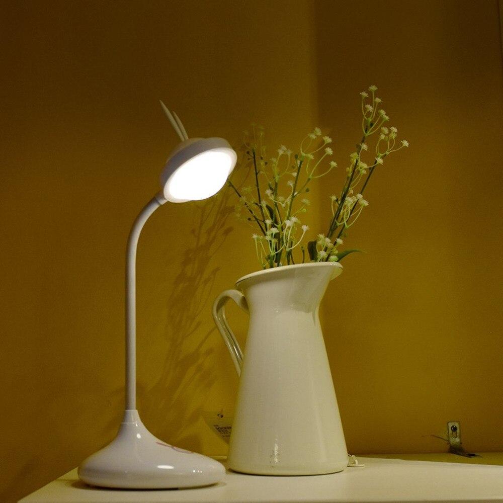 Cute Rabbit Touch Sensor Night USB Rechargeable Reading Lamp Light Adjustable LED Eye Protecting Desk Light Nice Gift For Kids
