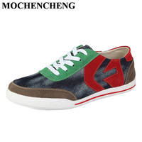 New Men Spring Summer Canvas Shoes Breathable Lace Up Casual Shoes Retro Style Mixed Color Leisure