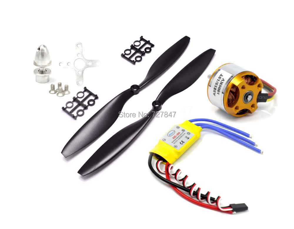 A2212 2212 1000KV Brushless Outrunner Motor +30A ESC+1045 Propeller Quad-Rotor Set for RC Aircraft Multicopter