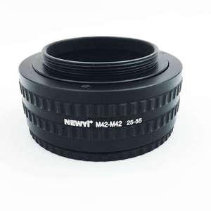 Image 1 - Newyi m42 ~ m42 마운트 렌즈 조정 가능한 초점 헬리콥터 매크로 튜브 어댑터 25mm ~ 55mm 카메라 렌즈 변환기 어댑터 링