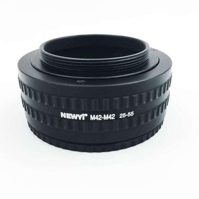Newyi m42 ~ m42 마운트 렌즈 조정 가능한 초점 헬리콥터 매크로 튜브 어댑터 25mm ~ 55mm 카메라 렌즈 변환기 어댑터 링
