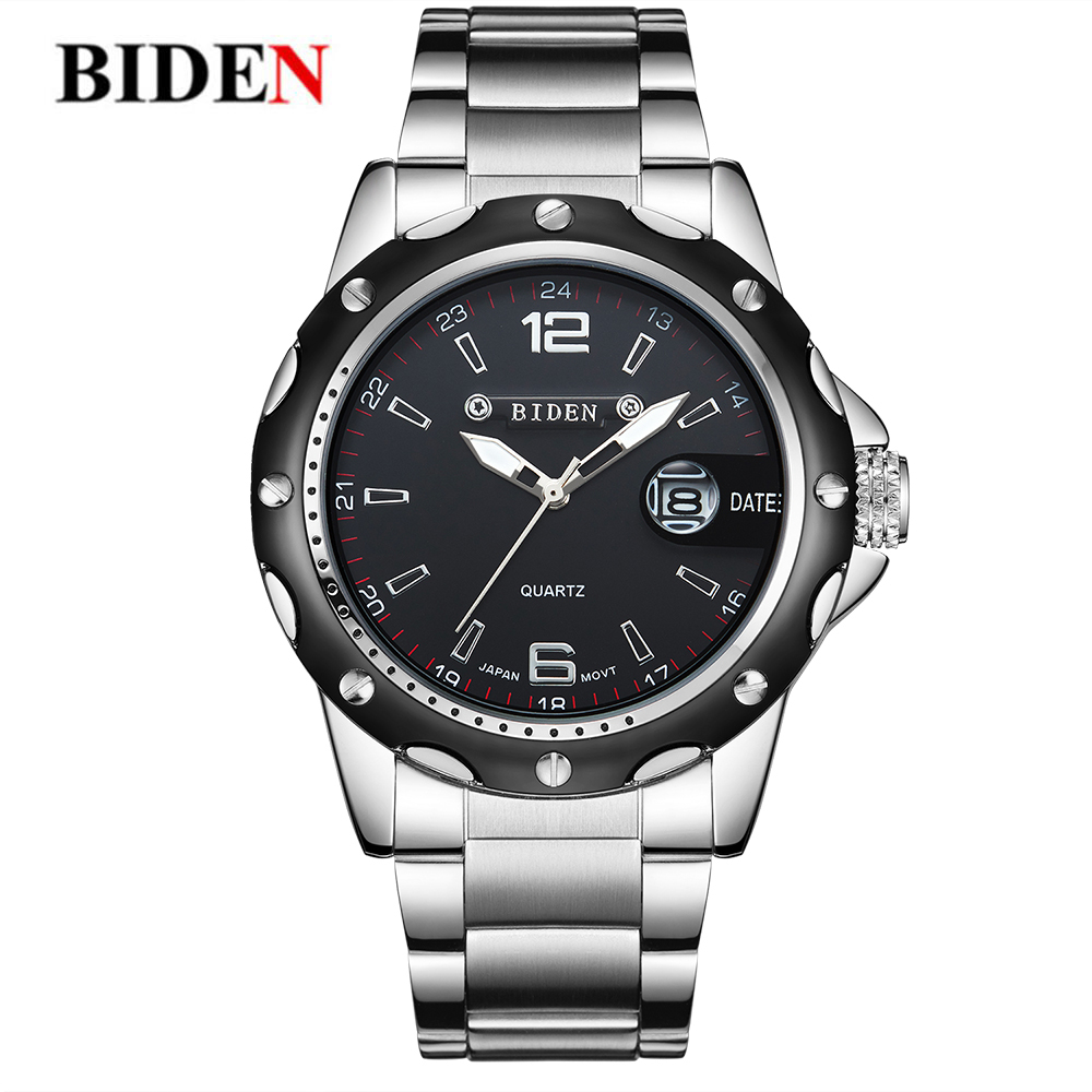 BIDEN Top Brand Men Wristwatches Business Stylish Watch Minimalism Casual Quartz Wrist Watches Gift for Male reloj hombre jialuowei ballet boots lace up 7 18cm wedge high heel buckle strap pu leather fashion sexy fetish over the knee long boots