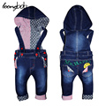 TOP 2017 New Toddler baby suspender jeans fashion boy denim Hooded overalls autumn infant trousers outfits Strap cowboy boy set