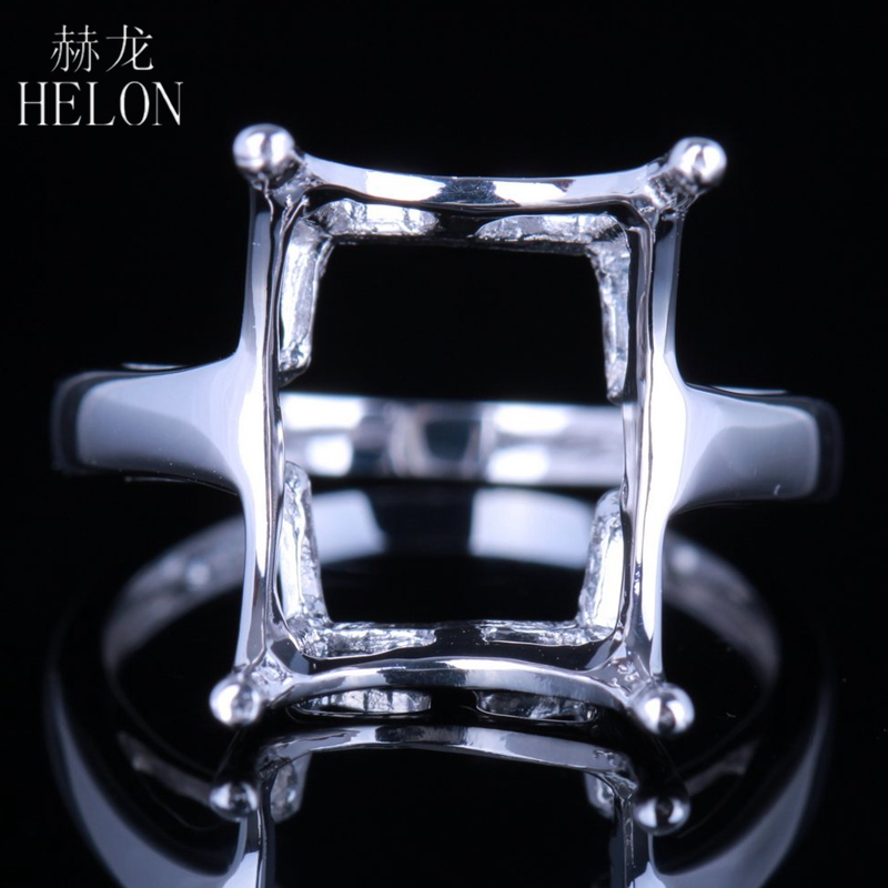 HELON Valentine's Day 925 Sterling Silver 10x13mm Cushion Cut Semi Mount Solitaire Elegant Jewerly Wedding Ring Prong Setting wta finals singapore semi final day