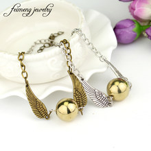 b6eebfb1da38 Joyería feimeng Quidditch Snitch dorada pulsera mosca mágica bola alas  pulseras para las mujeres accesorios de moda