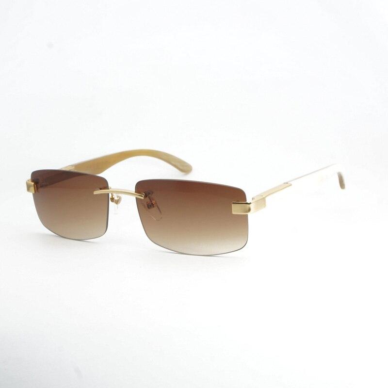 Luxury Buffalo Horn Sunglasses Men Carter Rimless Square Sunglasses Gafas Mens Eyewear Accessories Oculos De Sol Shade