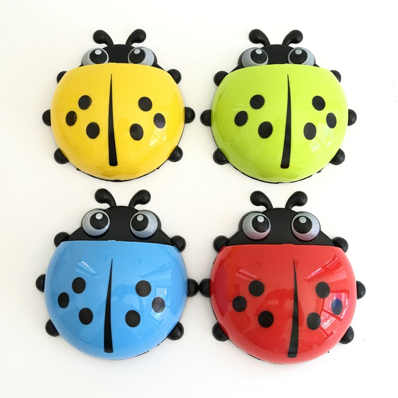 Lovely Ladybug Toothbrush Wall Suction Bathroom Sets Cartoon Sucker Hooks Toothbrush Holder Home Decor Supply