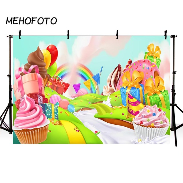 MEHOFOTO Candy Bar Photography Background Birthday Party Banner For Photo Studio Rainbow Candyland Backdrop Prop