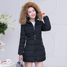2017 Long Coat Women Winter Slim Solid Parka Female Down Cotton Clothing Thicken Jacket Faux Fur Hooded Casual Warm Overcoat