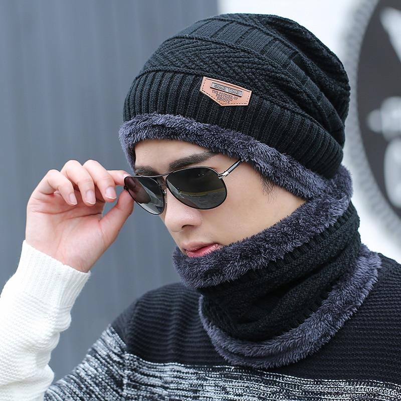 44f63025b5 2017 Famous Brand 2 pieces Knit Men's Winter Hat Caps+scarf Skullies Bonnet  For Men Women Beanie Fur Warm Baggy Wool Knitted Hat